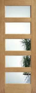 Internal Pre-Finished Oak Contemporary 5 Panel Clear Glazed Door