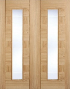 Internal Pre-Finished Edmonton Oak Glazed Door Pairs