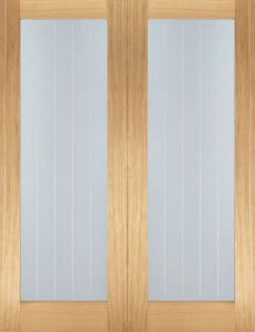Internal Oak Mexicano Pattern 10 Glazed Pairs Doors
