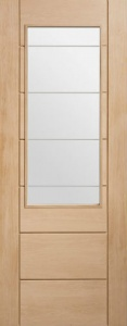 Intternal Oak Palermo 2XG Clear Etched Glazed Door