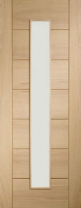 Internal Pre-finished Palermo Light Oak Door with Clear Glass