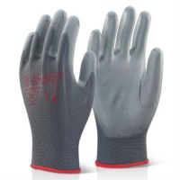 Click Puggies Snug Fit PU Coated Gloves Grey