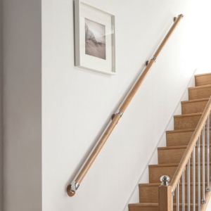 Wall Mounted 'Rail in a Box' Handrail Kit with Chrome Accessories