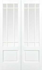 Internal Primed White Downham Glazed Solid Door Pairs