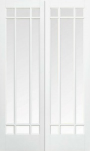 Internal Primed White Manhattan Glazed Solid Door Pairs