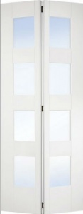 Internal Primed White Shaker 4 Panel Bi-Fold Glazed Solid Door