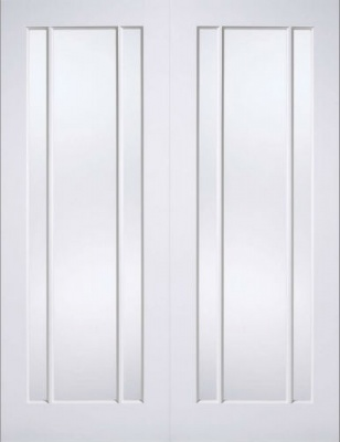 Internal Primed White Lincoln Glazed Solid Door Pairs