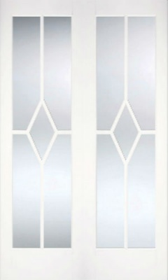 Internal Primed White Reims Glazed Solid Door Pairs